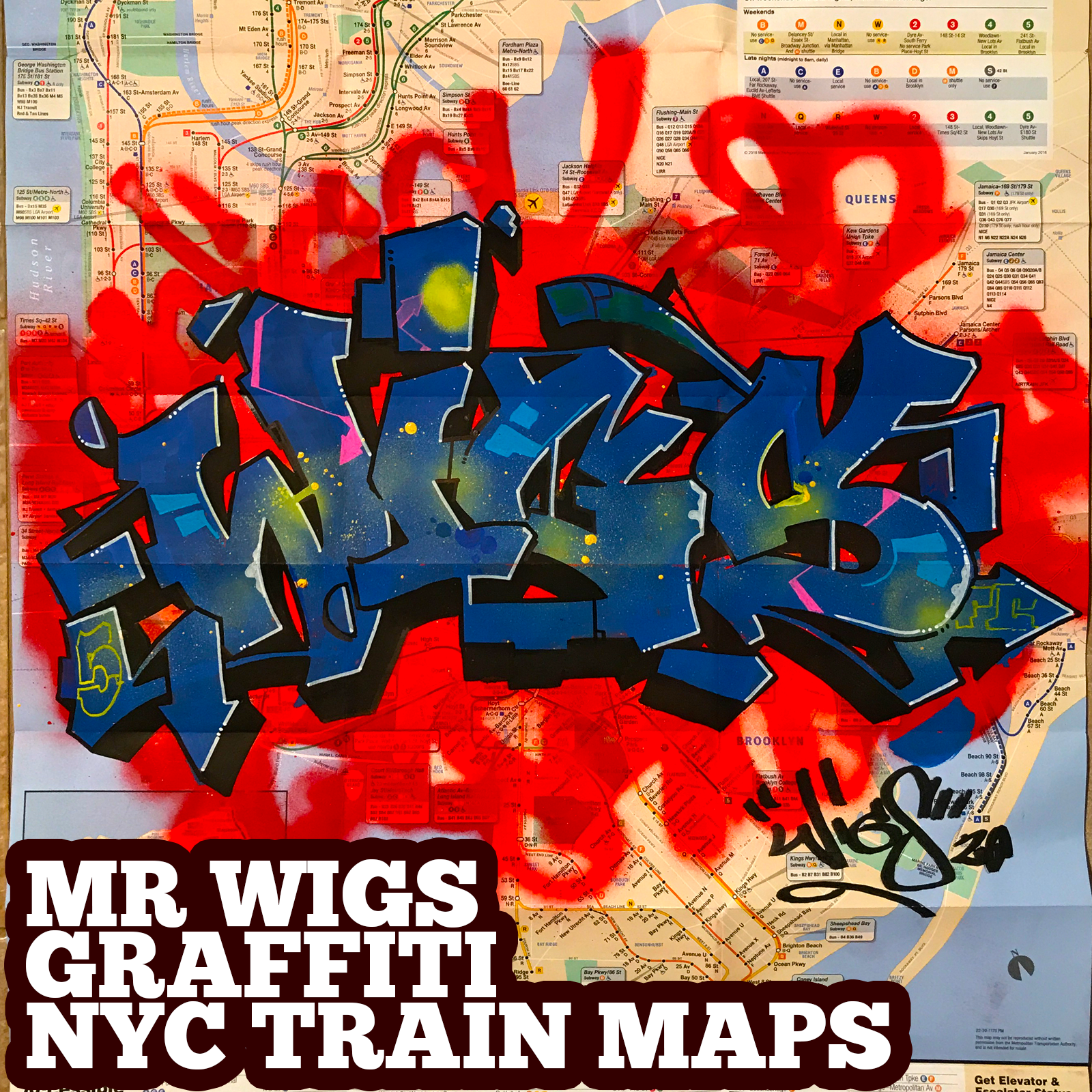 graffiti map wigs blue deep