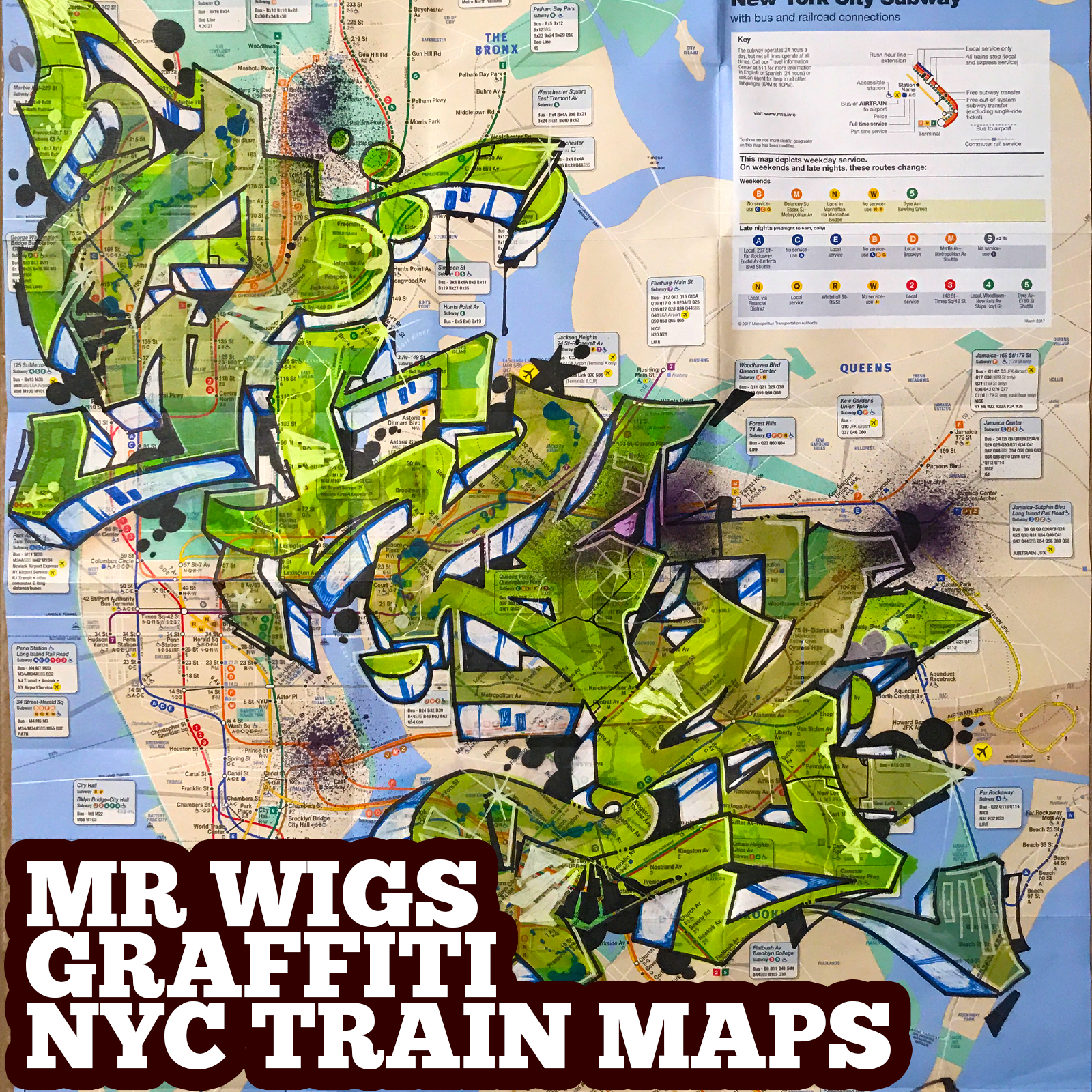 graffiti map wigs green translucent b